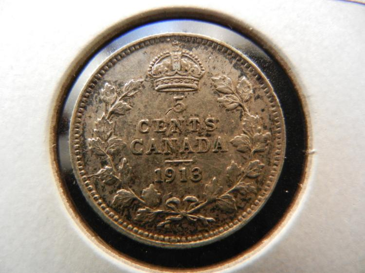 1913 Canadian 5 Cents Silver