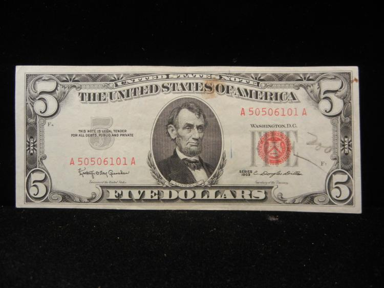 1963 $5 Red Seal