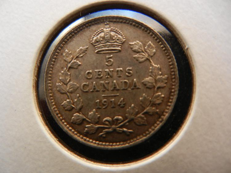 1914 Canadian 5 Cents Silver