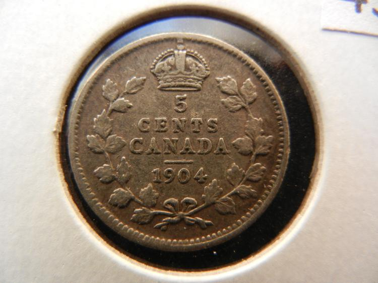 1904 Canadian 5 Cents Silver