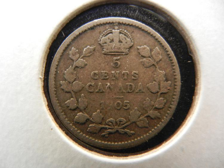 1905 Canadian 5 Cents Silver