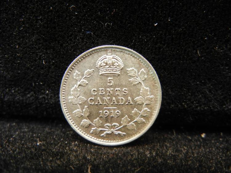 1919 Canadian 5 Cents Silver