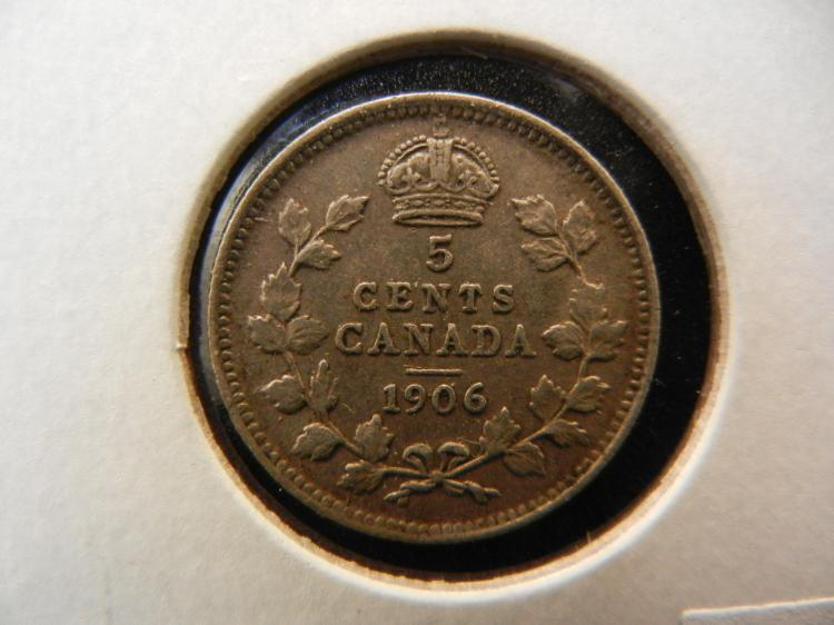 1906 Canadian 5 Cents Silver