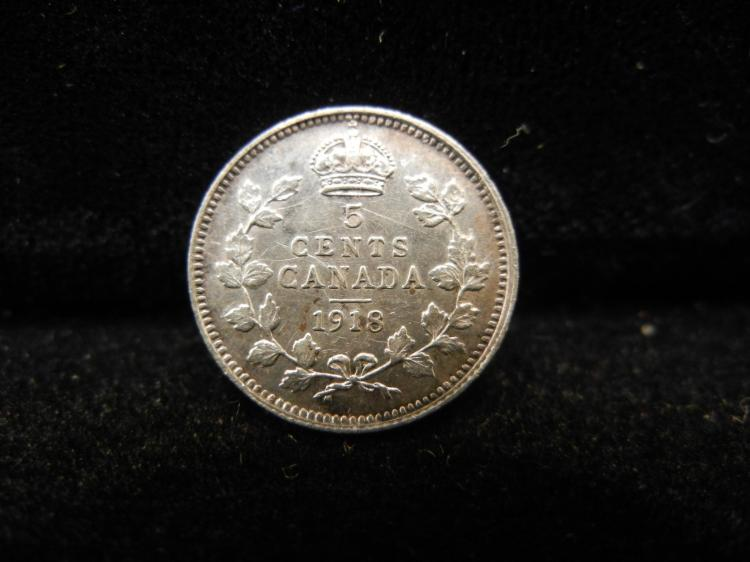 1918 Canadian 5 Cents Silver