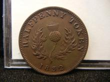1832 Province of Nova Scotia Half Penny Token