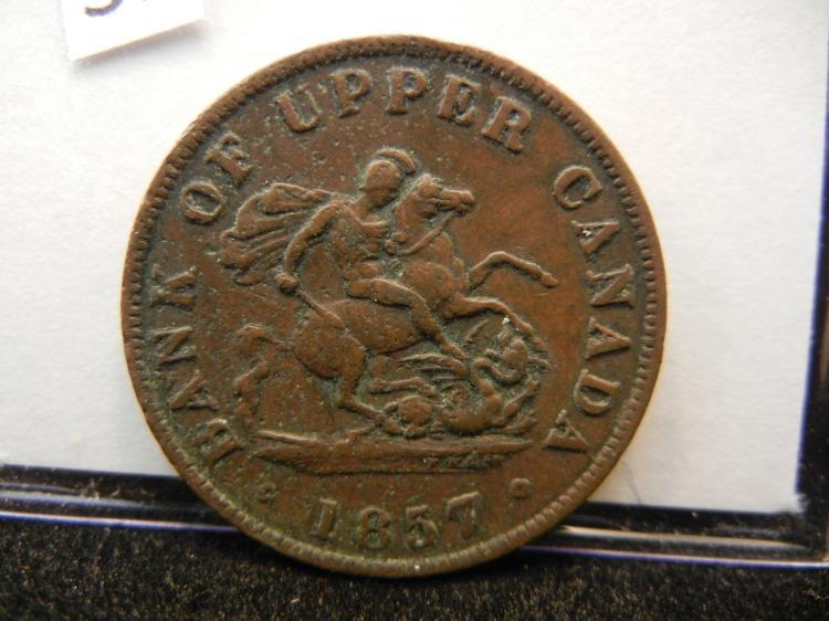 1857 Bank of Upper Canada Half Penny Bank Token