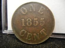 1855 Prince Edward Island Fisheries and Agriculture One Cent