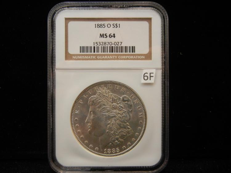 1885 O Morgan Silver Dollar NGC MS64