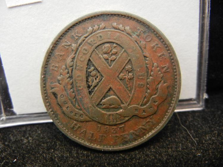 1837 Province Du Bas Canada UN Sou Half Penny Quebec Bank Token