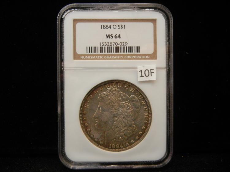 1884 O Morgan Silver Dollar NGC MS64 Rainbow