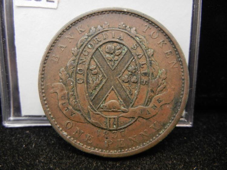 1837 Province Du Bas Canada Deux Sous One Penny Bank Token