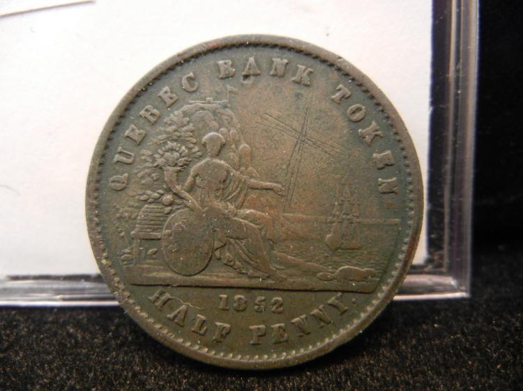 1852 Province Du Canada UN Sou Half Penny Quebec Bank Token