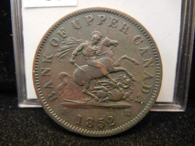 1852 Bank of Upper Canada One Penny Bank Token