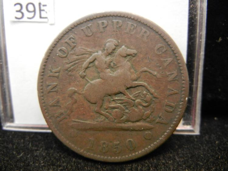 1850 Bank of Upper Canada One Penny Bank Token
