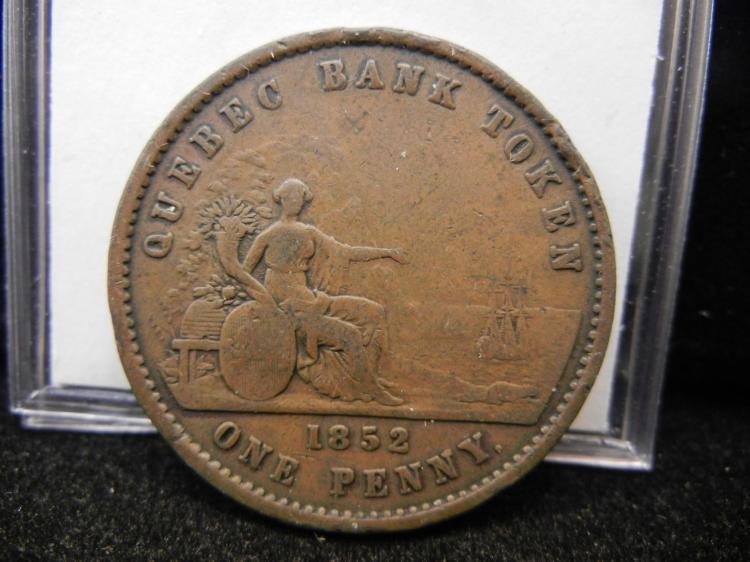 1852 Province Du Canada Deaux Sous One  Penny Quebec Bank Token
