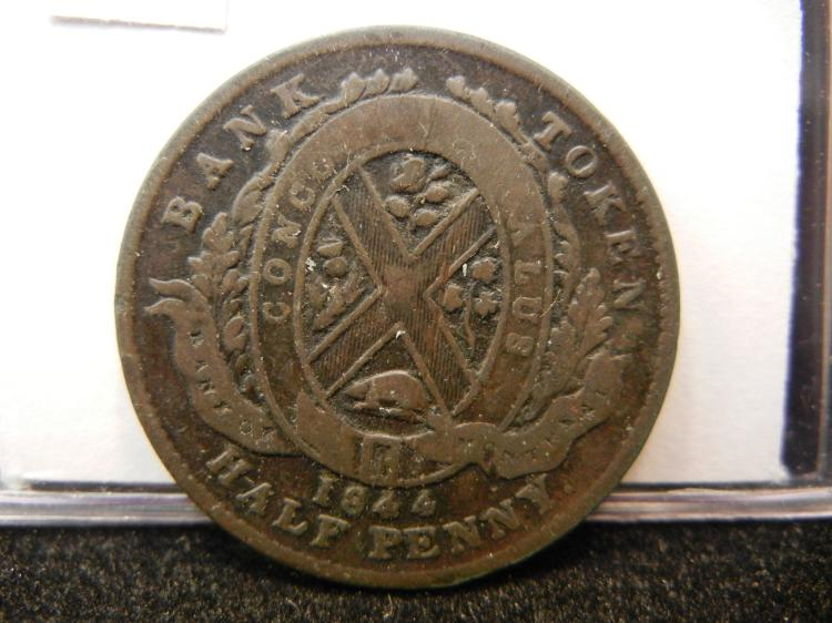 1844 Province of Canada Bank of Montreal Half Penny Bank Token