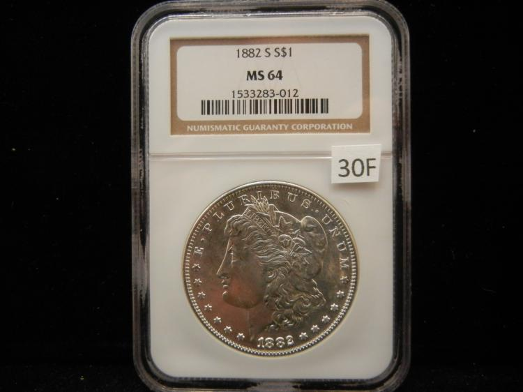 1882 S Morgan Silver Dollar NGC MS64