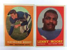 1958 Topps Raymond Berry #120 & Lenny Moore #10 - writing on front