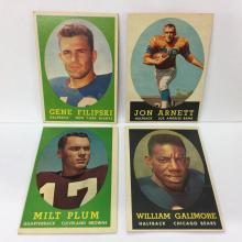 1958 Topps Lot of 4 Rookies - Gene Filipski, Jon Arnett, Milt Plum, Willie Galimore