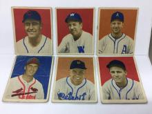 Lot of 6 1949 Bowman Baseball - #74, 75, 79, 80, 90, 96 - Low Grade