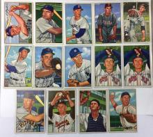 Lot of 14 1952 Bowman Baseball - #9, 13, 25, 40, 54, 86, 91, 105, 106, 106, 108, 132, 170, 212 - Low Grade