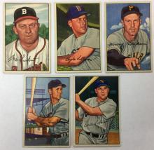 Lot of 5 1952 Bowman Baseball  - Max Surkont, Eddie Robinson - #12, 57, 59, 64, 77
