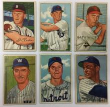 Lot of 6 1952 Bowman Baseball - Ebba St. Claire - #172, 183, 193, 194, 209, 210
