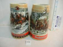 2 Budweiser Beer Collectable Ceramarte Steins