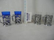 Set of 4 Glasses 2 Cobalt Blue and 2  Clear  with Metal Glass Holders