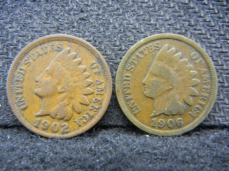 1902 and 1906 Indian Head Pennies