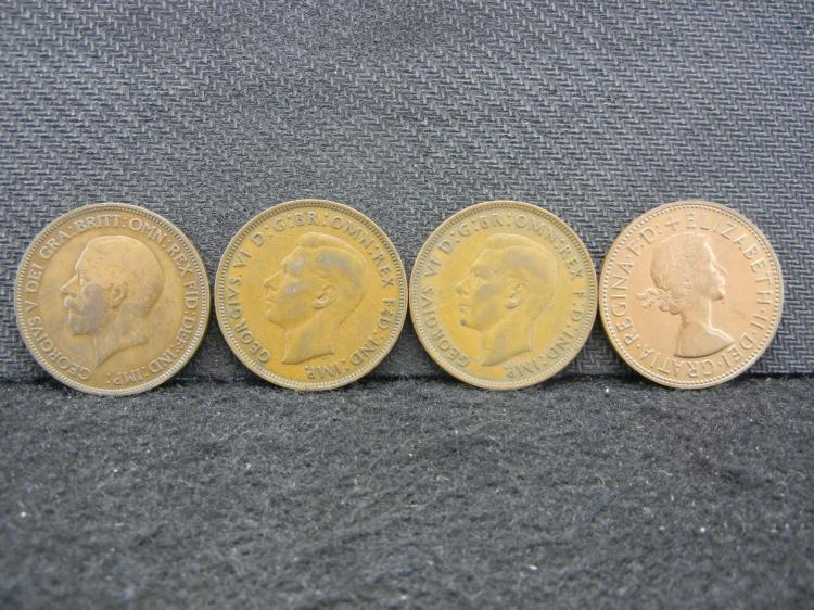4 British Large Pennies dated 1936, 1944, 1945, 1965.