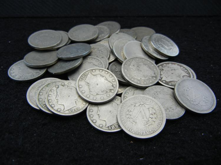 Roll of 40 Circulated V-Nickels.
