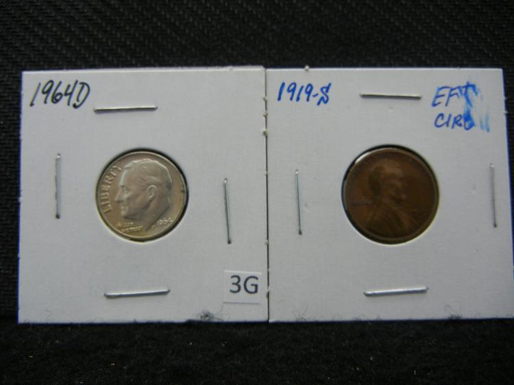 1964-D SILVER Roosevelt Dime and 1919-S Lincoln Cent