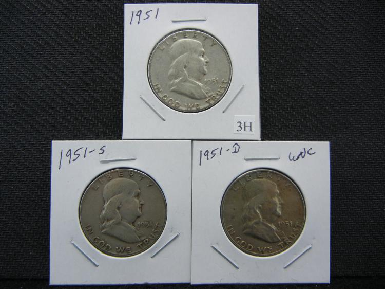 1951-P, D, & S Franklin Half Dollars