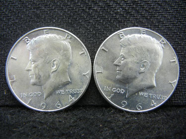 (2) 1964 Kennedy Half Dollars - 90% Silver