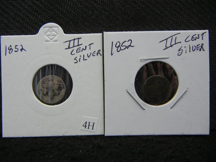 (2) 1852 U.S. Silver 3 Cent Pieces - Some Damage& Wear on Both