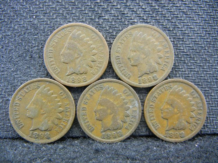 (5) 1898 Indian Head Cents