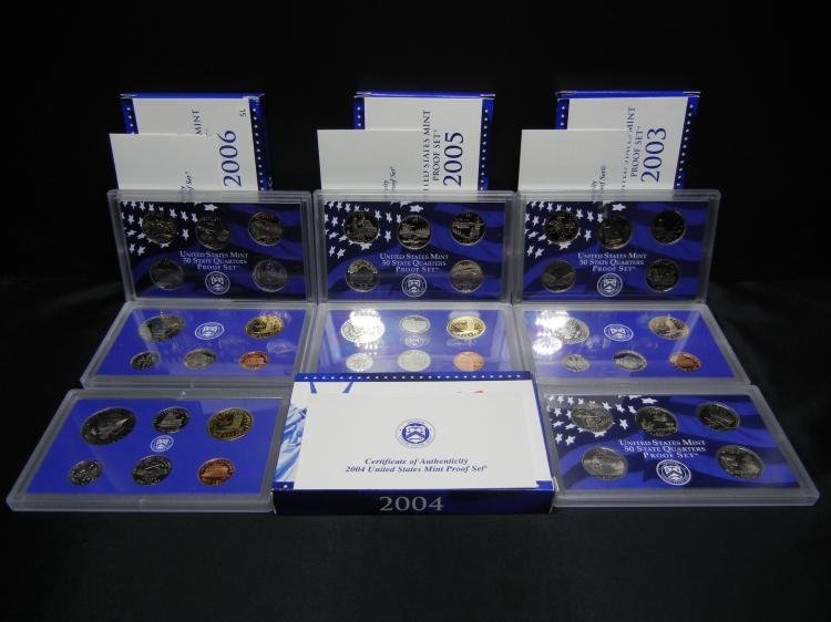 2003 2004 2005 2006 United States Mint Proof Sets.