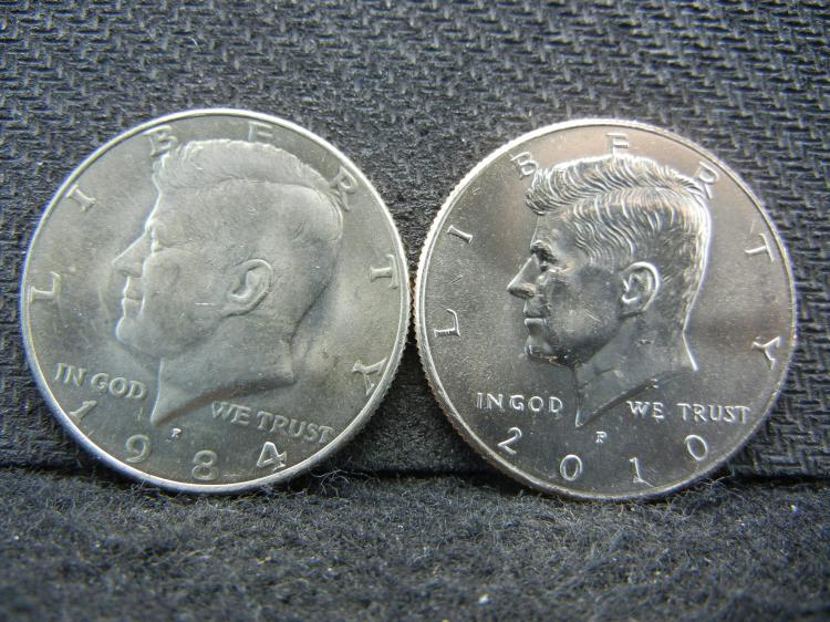 1984-P and 2010-P Kennedy half Dollars Bus
