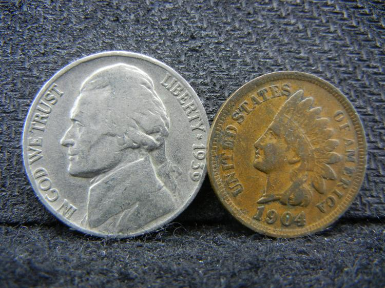 1939 Jefferson Nickel and 1904 Indian Head Penny