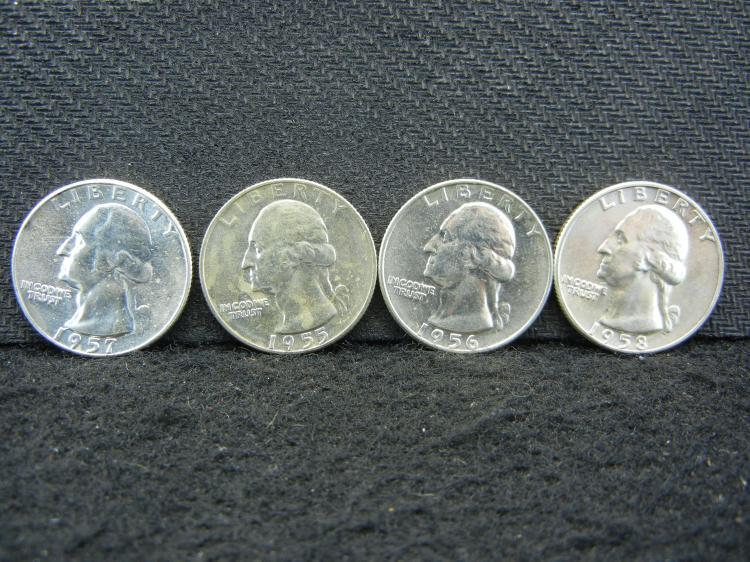 4 Brilliant Uncirculated Washington Quarters, 1955-D 1956-D 1957 1958-D