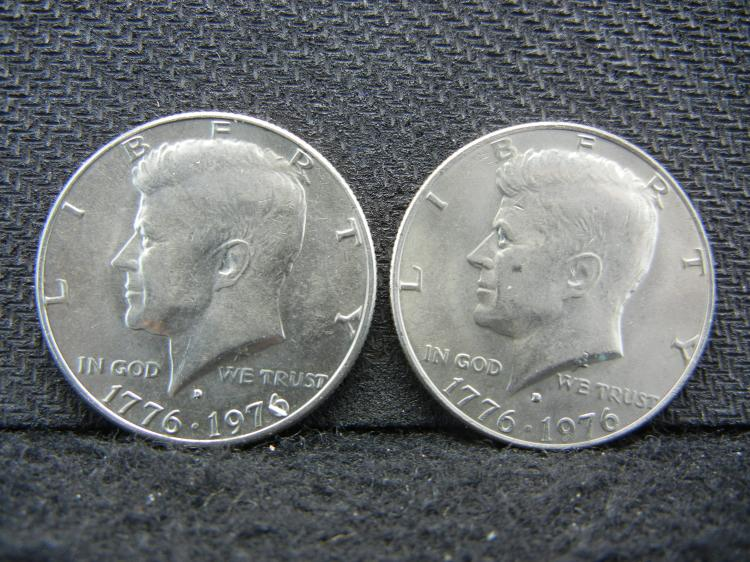 1776-1976-D Filled D and Non-Filled D Kennedy Half Dollars