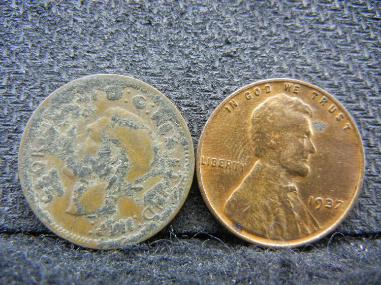 1939 Canada Penny and 1937 Lincoln Penny - Red