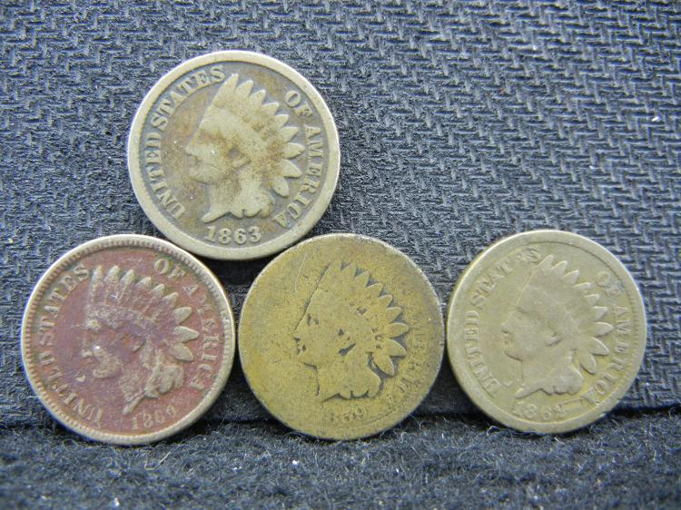 1859 60 62 63 Copper Nickel Indian Head Cents.