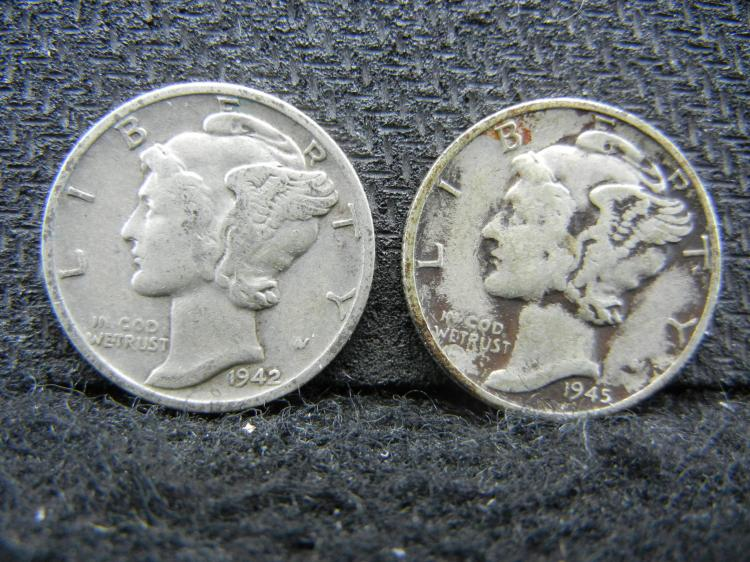 1942 and 1945 Mercury Dimes - SILVER