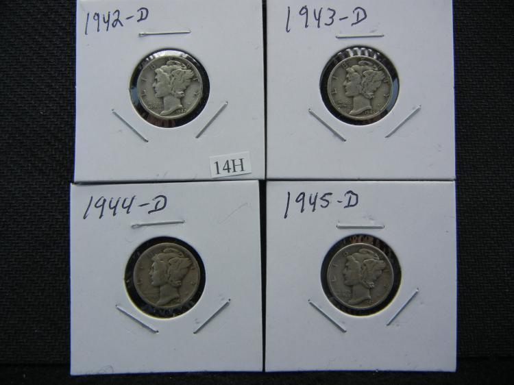 1942-D, 1943-D, 1944-D, & 1945-D Mercury Dimes