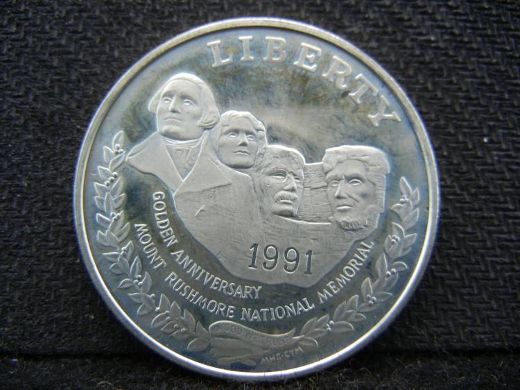 1991 Proof Mount Rushmore commemorative 90% Silver Dollar.