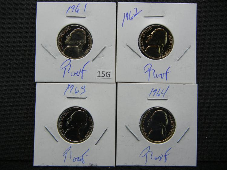 1961, 1962, 1963, and 1964 Jefferson Nickels - Proofs