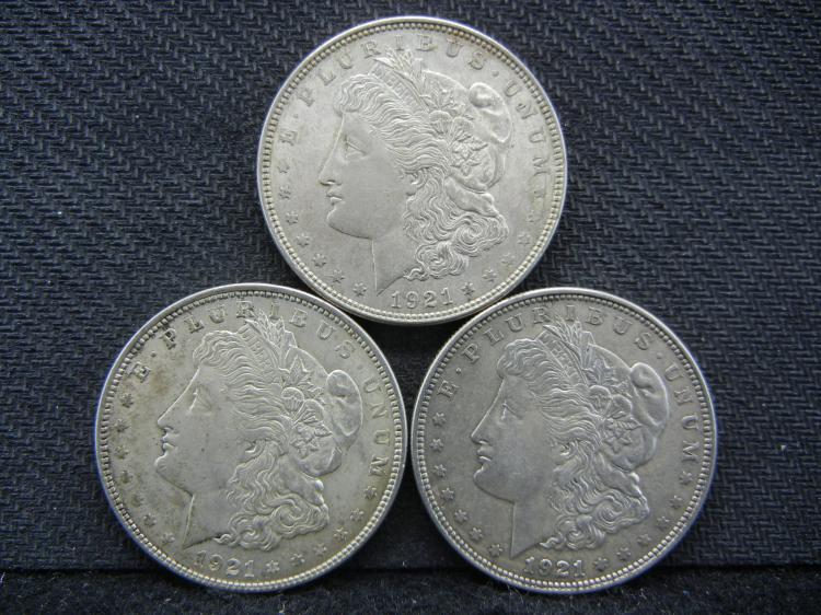 (3) 1921 Morgan Dollars