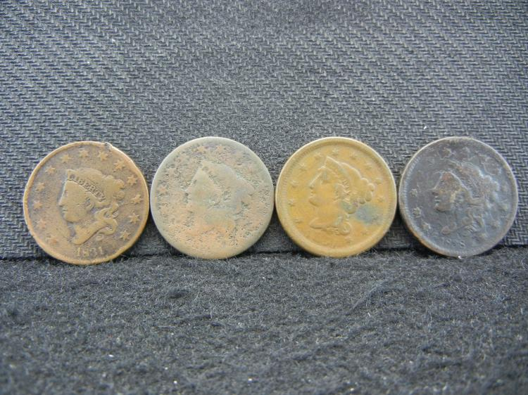 4 Large Cents. 1831, 1838, 1851, one dateless.